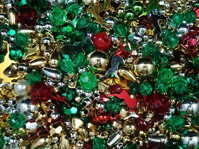 Beads Round Christmas Mix 25g Craft Jewellery Wire Stars FREE POSTAGE