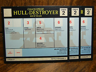 Classic Man O War Data Cards 3 Chaos Dwarf Hull-Destroyer