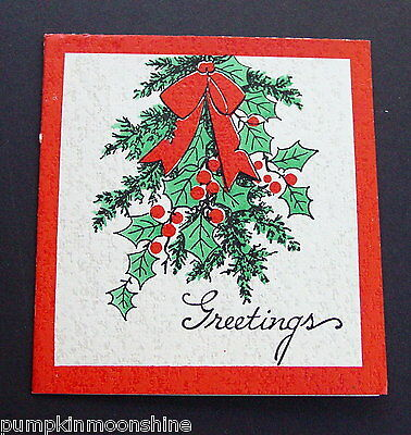 #D343- Vintage McNicol Boston Xmas Greeting Card Pretty Holly Berry Bunch
