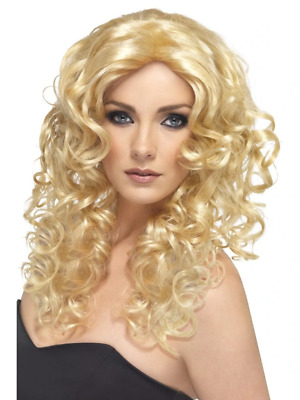 Blonde Glamour Wig Long and Curly Adult Womens Smiffys Fancy Dress Costume