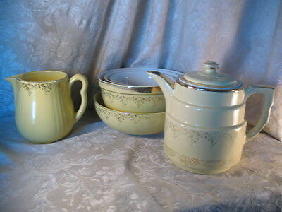 Vintage Hall Superior Quality Canary Yellow Coffee Pot Pitcher Mixing Bowls