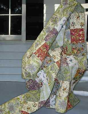 French Country Cottage Tuscan Patchwork QUEEN QUILT & Shams Set 3PC Farmhouse