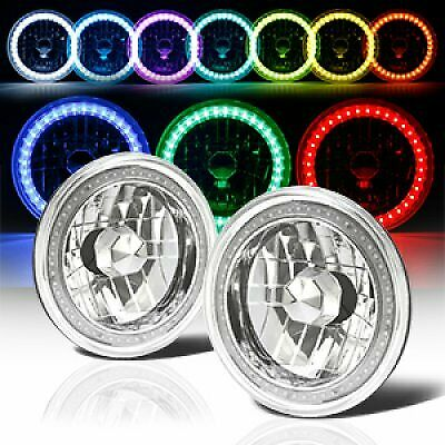 """7"""" Round 6014/6015/6024 RGB MULTI COLOR LED SMD Halo Headlights Replacement"""