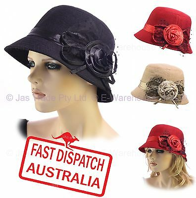 bdf0ccf8a WOOL BLEND CLOCHE Ladies Great Gatsby 20s Bucket Flapper Party Felt Hat ROSE