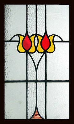Pretty Art Nouveau Floral Tulips Antique English Stained Glass Window • CAD $1,414.70