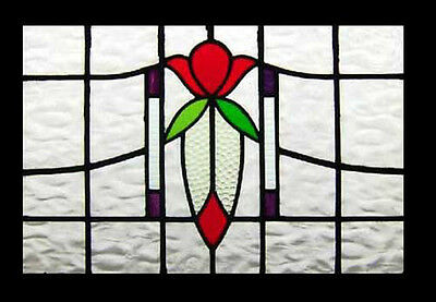 Pretty Art Nouveau Summers Rose Antique English Stained Glass Window