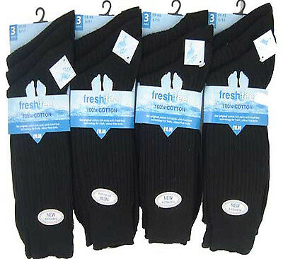12  pairs black 100% pure cotton mens socks size 6-11 WITH SEAM FREE TOE