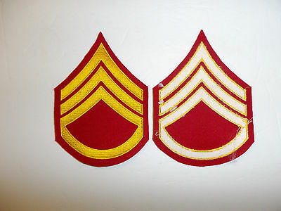 b2044p WW2 Korea USMC Dress Blue Staff Sergeant chevron Embroidered pair R6E