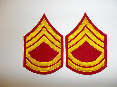 b2045p WW2 Korea USMC Dress Blue Technical Sergeant chevron Marine Emb pair R6E