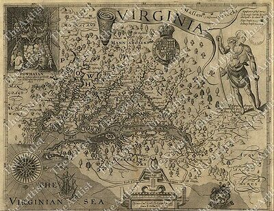 HUGE VINTAGE 1607 historic JOHN SMITH VIRGINIA MAP OLD ANTIQUE STYLE art print