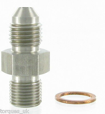 AN-4 (4AN) To M11x1.0 Garrett Turbo 1mm Restrictor Oil Feed Stainless Adapter