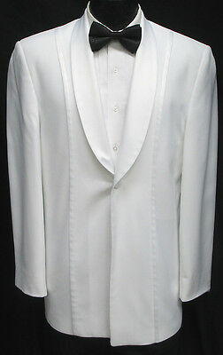 44L Mens White Jean Yves Shawl Lapel Tuxedo Dinner Jacket Prom Wedding Cruise
