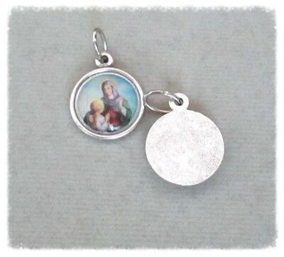 Saint St. ANNE Holy Medal Small Charm ITALY Rosary Bracelet A111 finish SILVER