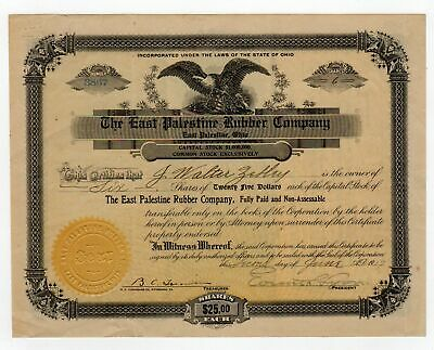 The East Palestine Rubber Company stock certificate