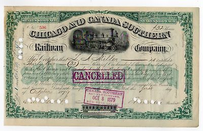 Chicago and Canada Southern Railway Company Stock Cert. - C. Vanderbuilt signed