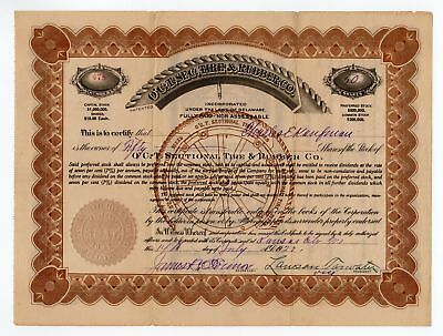 O'C.-T. Sectional Tire & Rubber Co. stock certificate