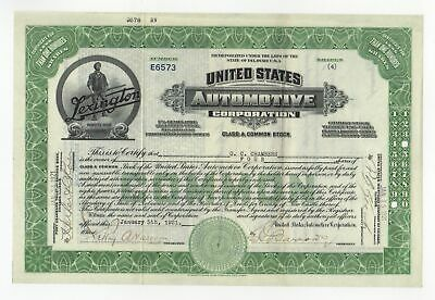 United States Automotive Corporation Stock Certificate