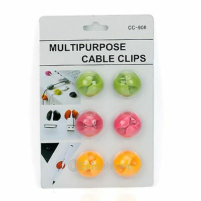 6x Candy Colors Multipurpose Cable Wire Clips Clamp Drop Holder Organizer 80492