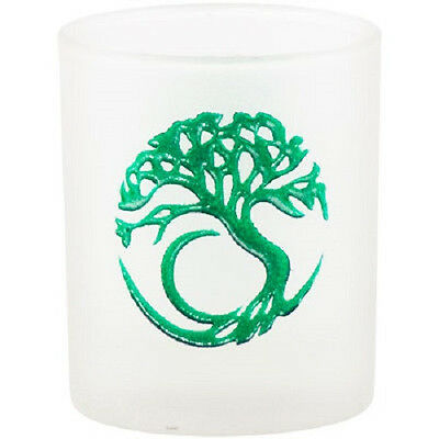 Tree of Life Etched Frosted Glass Votive Candleholder Wicca Pagan