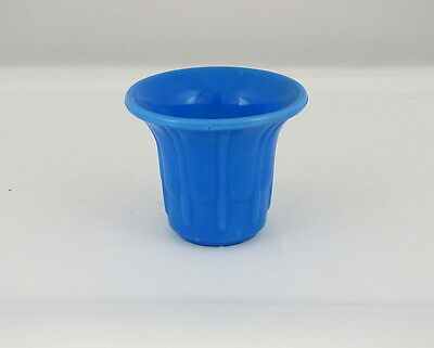 "Akro Agate #297 Smooth Top Ribs & Flutes Flower Pot, Solid Blue, 3"" tall"