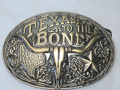 """""""Texas to the Bone"""" Pewter Belt Buckle - NEW- antique brass finish"""