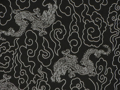 Tenugui Cloth Traditional Japanese Cotton Towel Gauze 'Black Dragons' Fabric