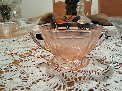 Anchor Hocking Depression Glass Pink Mayfair Open Rose Sugar