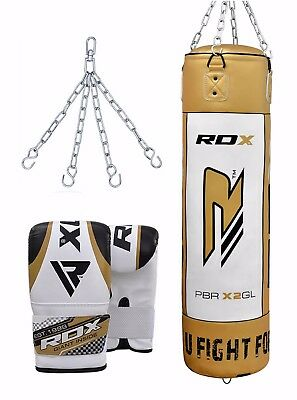 RDX Heavy Duty Filled 5FT Punch Bag Leather Kickboxing Set Bag Gloves Chain Gold