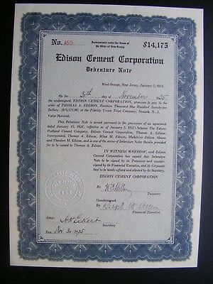 Edison Cement Corporation Debenture Note - Charles Edison
