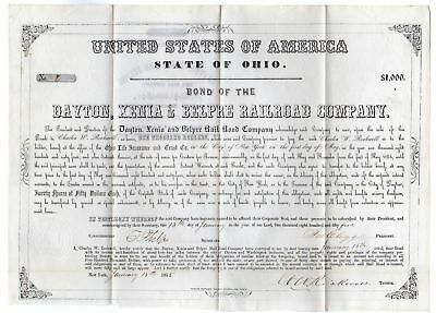 Dayton, Xenia & Belpre Railroad bond