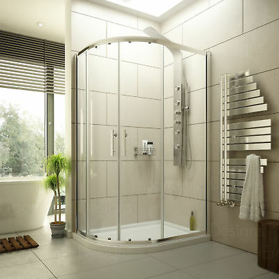 1000 x 800 Offset Quadrant Shower Enclosure 6mm Glass Cubicle and Left Hand Tray