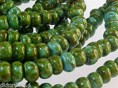 VTG 50 TURQUOISE GREEN MARBLE PICASSO 1/0 BIG SEED GLASS BEADS HOT!