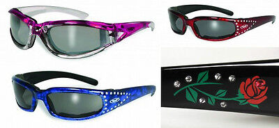Womens Foam Padded Motorcycle Riding Sun Glasses-Color Frames-Choice Of Models