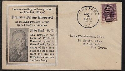 1933 Roosevelt inauguration cacheted cover Hyde Park