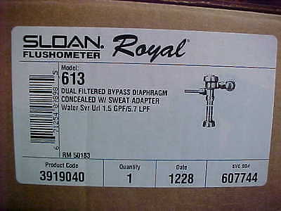 New Sloan Flushometer Royal 613 Concealed  Urinal Flush Valve 1.5 GPF -  3919040