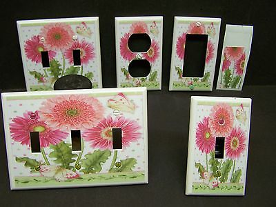 Pink Gerber Daisies  And Butterfly Light Switch Covers Plate And Outlets