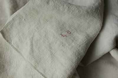 Antique French linen soft monogram hand tea kitchen towel 18th / 19th LB SOFT