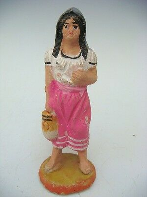 "Old vintage Mexican Tlaquepaque PANDURO figure of girl 4 1/4"" tall"