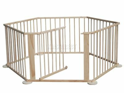 FoxHunter Baby Child Foldable Playpen Play Pen Room Divider Wooden 6 Side New