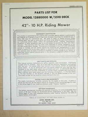 """Amf Western Tool 42"""" 10 H.p. Riding Mower Parts Manual"""