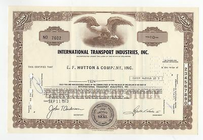 International Transport Industries Inc. Stock