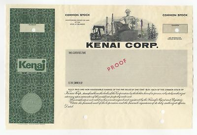 SPECIMEN - Kenai Corporation Stock Certificate