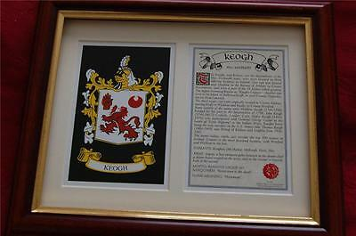 KEOGH Family Heraldic FRAMED Coat of Arms and Family Crest and History