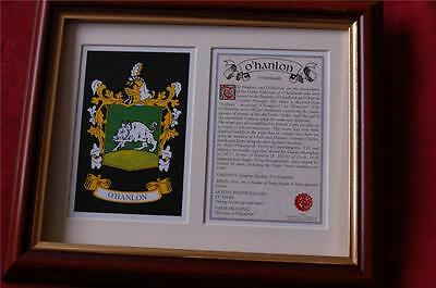 O'HANLON Heraldic Framed Coat of Arms Family Crest and History