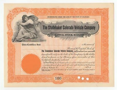 The Studebaker Colorado Vehicle Company Stock Certificate