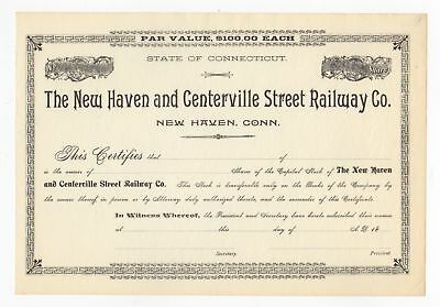 New Haven and Centerville Street Railway Co. Stock Certificate