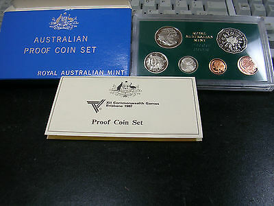1982 AUSTRALIA with XII Commonwealth Games Commemorative coin PROOF SET BOX COA
