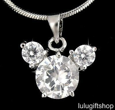 18K White Gold Plated Disney Mickey Mouse Pendant Necklace Use Swarovski Crystal