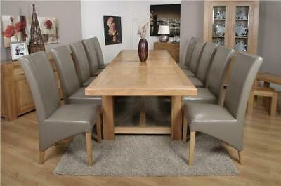 Roma Chunky Oak Furniture Large Dining Table Set 320cm With