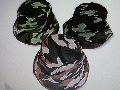 12 CAMOUFLAGED BUCKET HATS Army Green Camouflage Child Toddler Hat Birthday